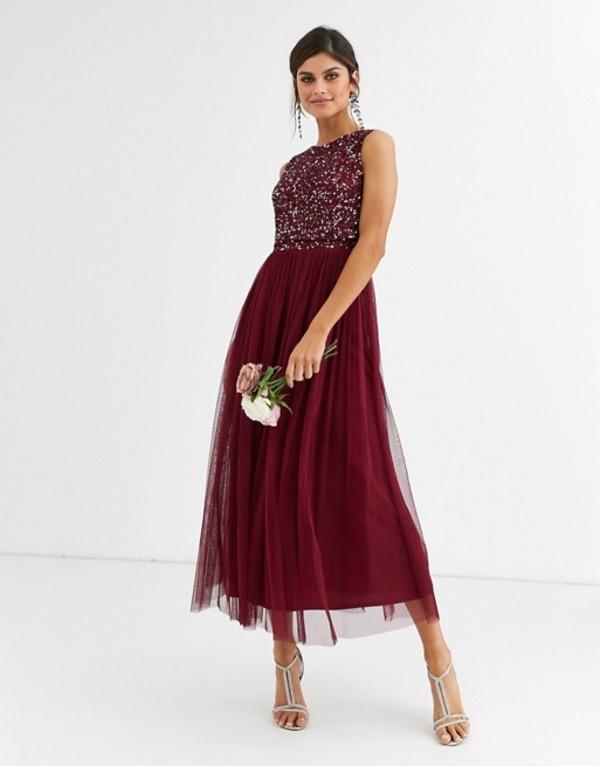 マヤ レディース ワンピース トップス Maya Bridesmaid delicate sequin 2 in 1 midaxi dress in wine Wine