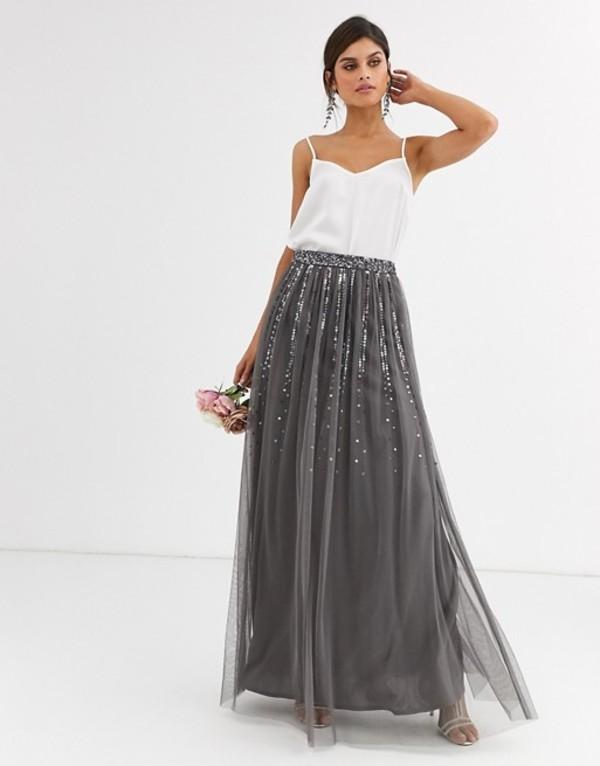 マヤ レディース スカート ボトムス Maya Bridesmaid delicate sequin tulle skirt in dark gray Dark grey