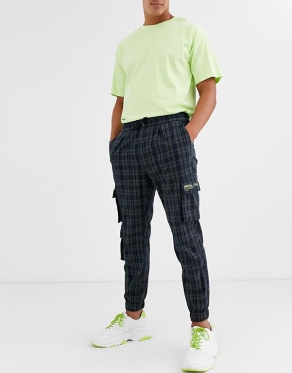 エイソス メンズ カジュアルパンツ ボトムス ASOS DESIGN woven jogger in check with text print Green