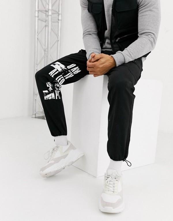 エイソス メンズ カジュアルパンツ ボトムス ASOS DESIGN cargo pants with leg print in black Black