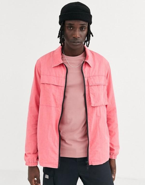エイソス メンズ ジャケット・ブルゾン アウター ASOS DESIGN utility jacket in acid wash pink Pink
