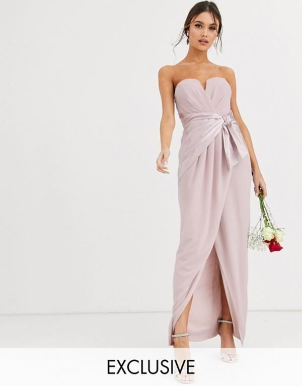 ティエフエヌシー レディース ワンピース トップス TFNC Bridesmaid bandeau maxi wrap dress with satin front detail in taupe Taupe