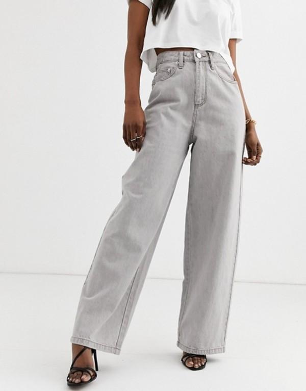 エイソス レディース デニムパンツ ボトムス ASOS DESIGN High rise 'relaxed' dad jeans in concrete gray wash Concrete