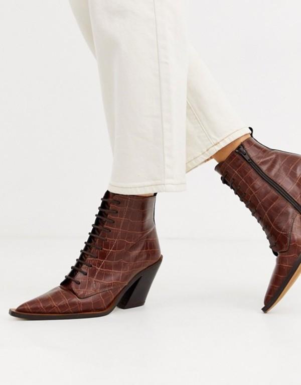 エイソス レディース ブーツ・レインブーツ シューズ ASOS DESIGN Redwood premium leather western lace up boots in brown croc Brown croc