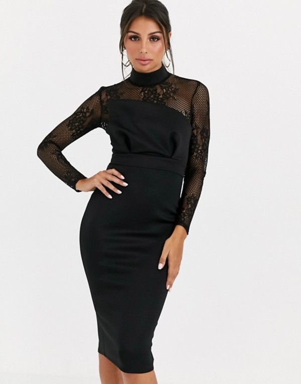 エイソス レディース ワンピース トップス ASOS DESIGN long sleeve lace scuba mix pencil midi dress Black