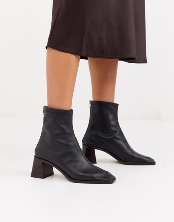 エイソス レディース ブーツ・レインブーツ シューズ ASOS DESIGN Riverside leather kitten heel sock boots in black Black leather