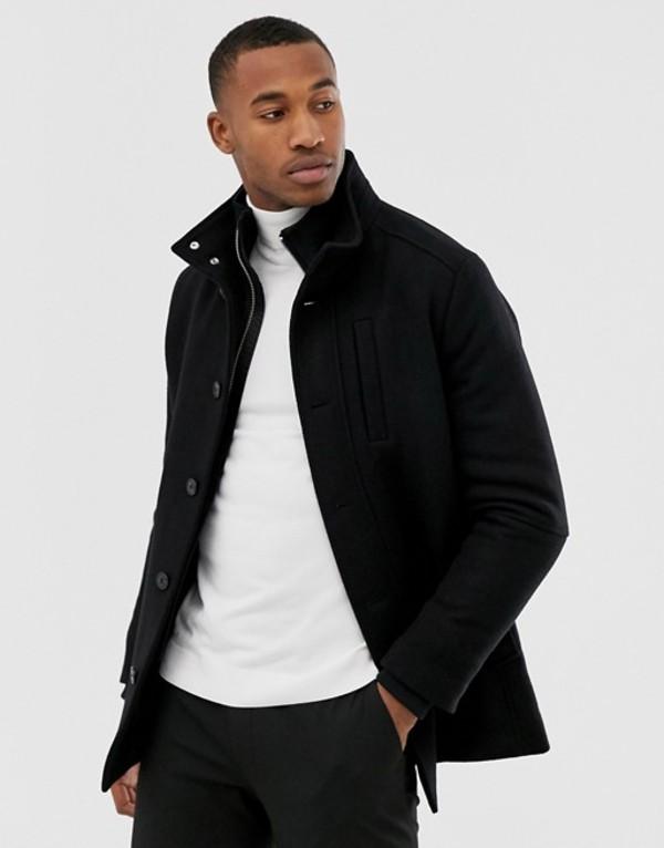 ジャック アンド ジョーンズ メンズ ジャケット・ブルゾン アウター Jack & Jones Premium insert wool jacket in black Black