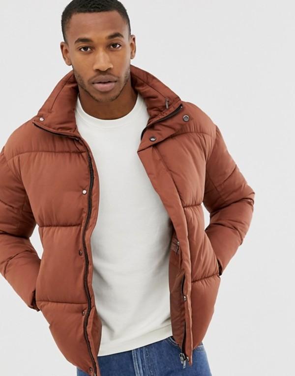 ジャック アンド ジョーンズ メンズ ジャケット・ブルゾン アウター Jack & Jones Premium padded puffer jacket in burnt orange Cappuccino