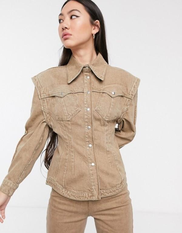エイソス レディース スカート ボトムス ASOS WHITE denim seamed shirt Brown