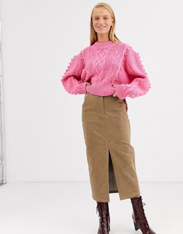 エイソス レディース スカート ボトムス ASOS WHITE split front denim skirt Brown