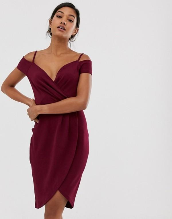 アックスパリ レディース ワンピース トップス AX Paris burgundy cold shoulder wrap midi dress Burgundy