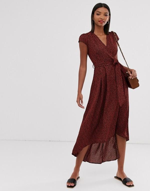 アックスパリ レディース ワンピース トップス AX Paris printed wrap midi dress Red spot