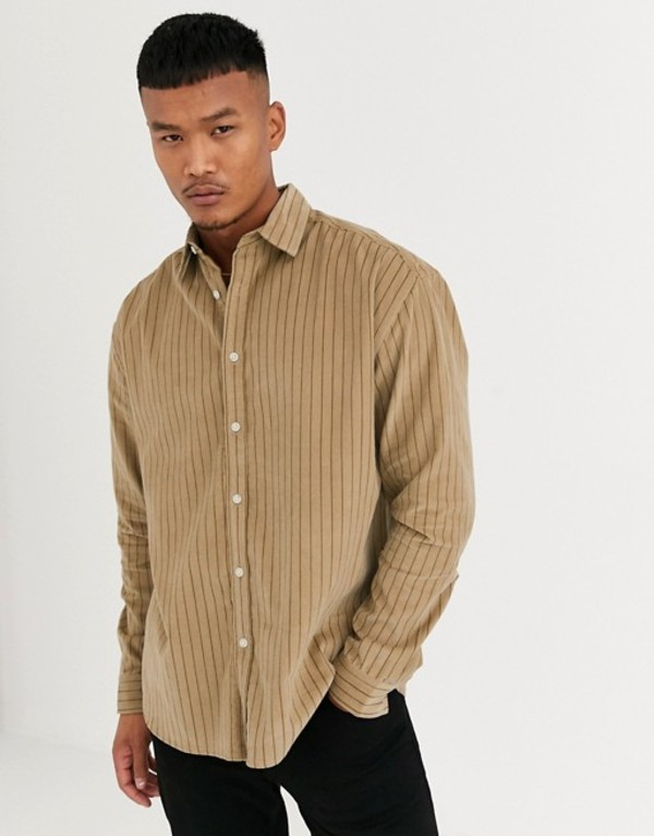 エイソス メンズ シャツ トップス ASOS DESIGN oversized fit shirt in stripe cord Brown