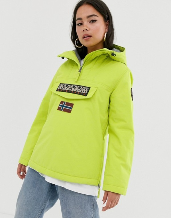 ナパピリ レディース ジャケット・ブルゾン アウター Napapijri Rainforest Winter 3 overhead jacket in lime Yellow