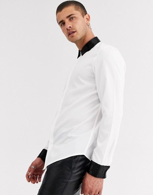 エイソス メンズ シャツ トップス ASOS DESIGN regular fit satin shirt with beaded collar & cuff White