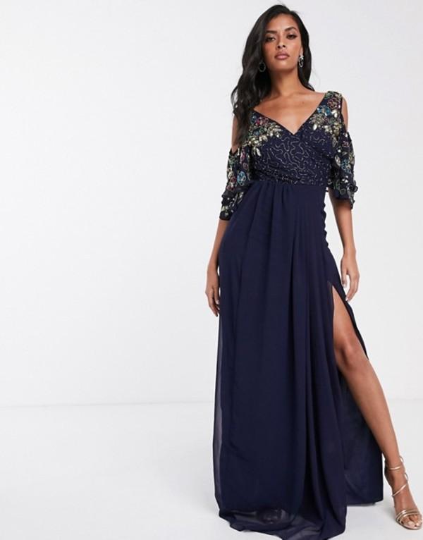 ビルゴスラウンジ レディース ワンピース トップス Virgos Lounge maxi dress with embellished cold shoulder sleeve in navy Navy