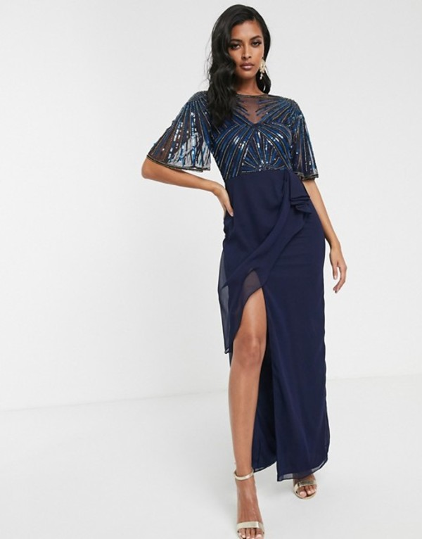 ビルゴスラウンジ レディース ワンピース トップス Virgos Lounge ruched side detail with sheer overlay maxi dress in navy Navy