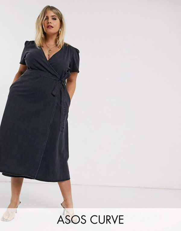 エイソス レディース ワンピース トップス ASOS DESIGN Curve denim wrap midi dress in black Washed black