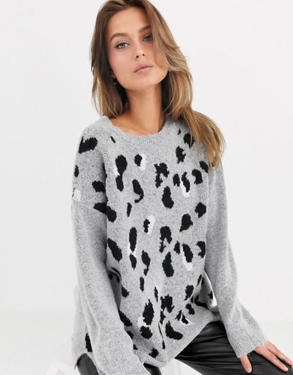 リクオリッシュ レディース ニット・セーター アウター Liquorish oversized sweater in gray leopard print Grey multi