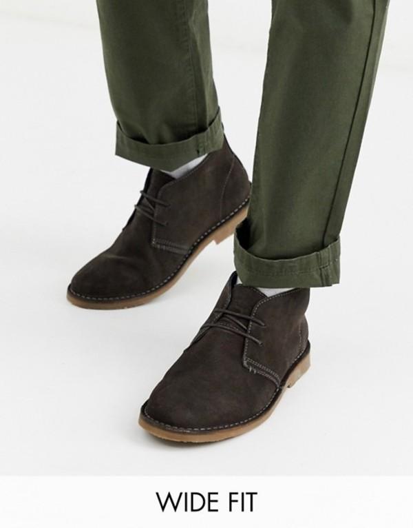リバーアイランド メンズ ブーツ・レインブーツ シューズ River Island Wide Fit suede desert boots in dark gray Dk grey