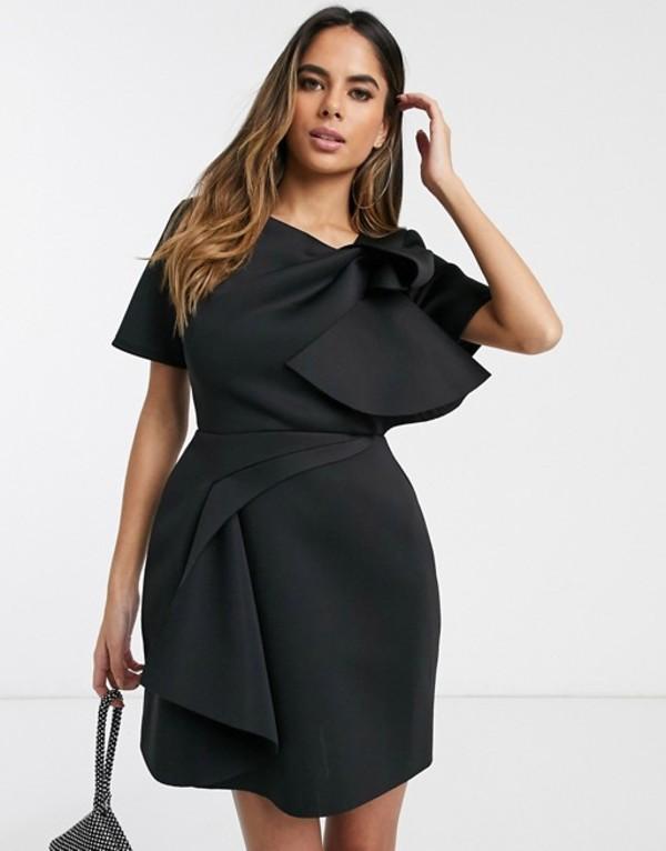 エイソス レディース ワンピース トップス ASOS DESIGN tshirt tuck detail mini skater dress Black