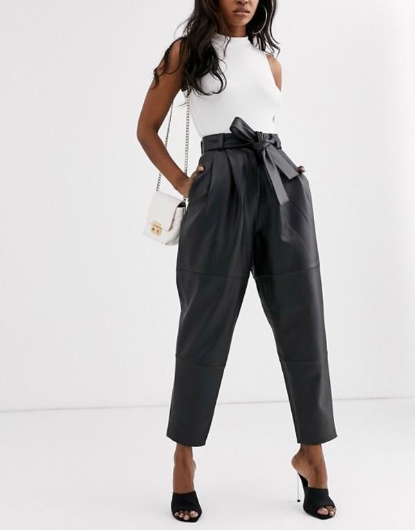 エイソス レディース カジュアルパンツ ボトムス ASOS DESIGN premium leather tapered pants Black