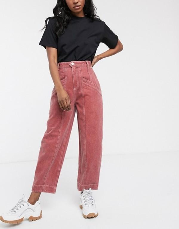 エイソス レディース デニムパンツ ボトムス ASOS DESIGN Ovoid boyfriend jeans with seam pocket detail in washed mulberry Mulberry