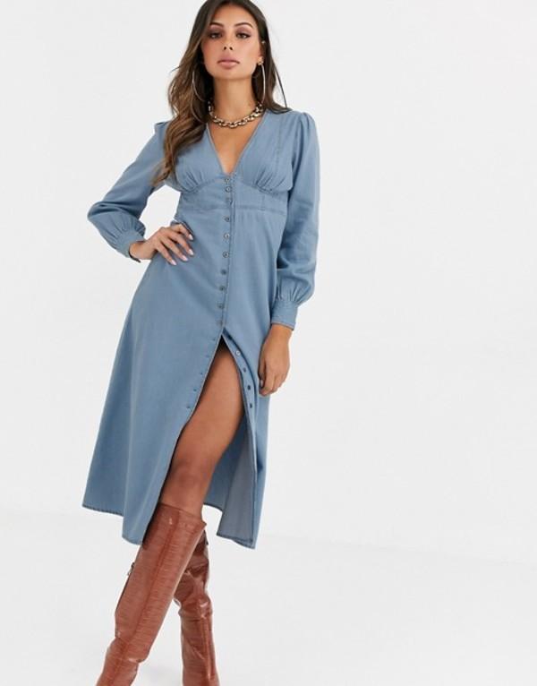 エイソス レディース ワンピース トップス ASOS DESIGN soft denim corset waist midi dress Blue