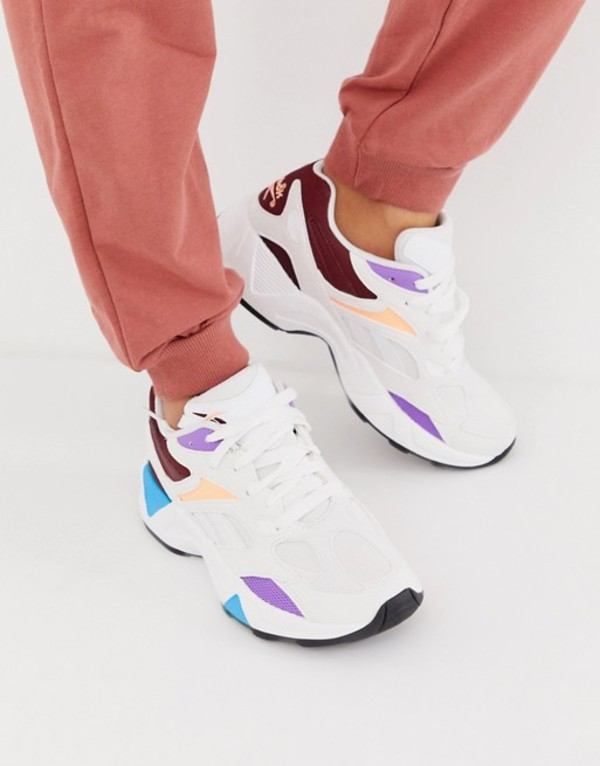 リーボック レディース スニーカー シューズ Reebok Aztrek 96 sneakers in white color block White
