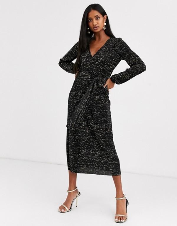 エイソス レディース ワンピース トップス ASOS DESIGN long sleeve glitter midi plisse tea dress Black gold