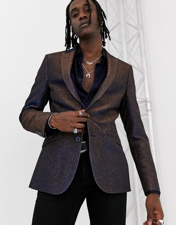 エイソス メンズ ジャケット・ブルゾン アウター ASOS DESIGN super skinny blazer in MULTICOLOR glitter Black
