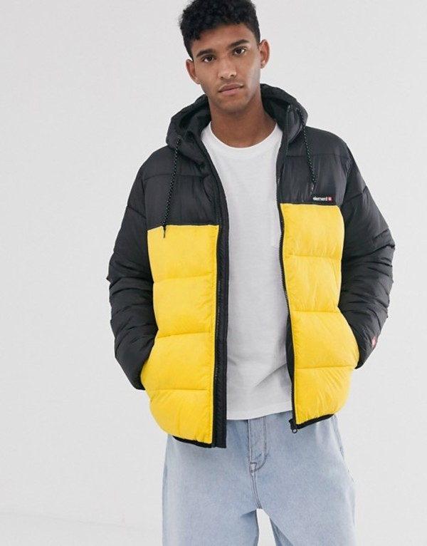 エレメント メンズ ジャケット・ブルゾン アウター Element Primo Alder Avalanche puffer jacket with hood in yellow Yellow