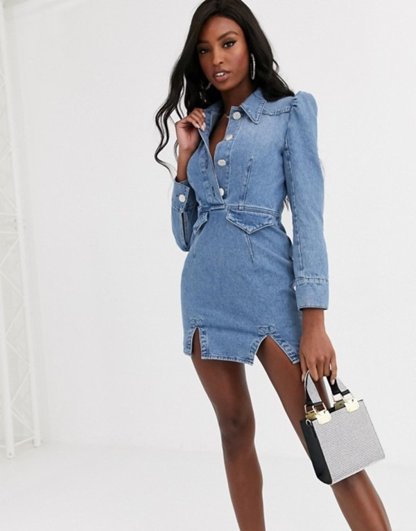 エイソス レディース ワンピース トップス ASOS DESIGN denim mini western shirt dress with puff sleeve Blue