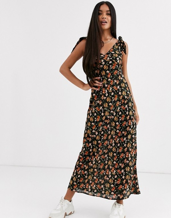 エイソス レディース ワンピース トップス ASOS DESIGN bias cut button front maxi dress with wooden rings in floral print Dark based floral