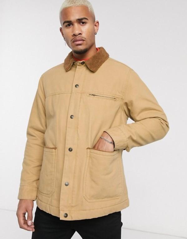 プルアンドベアー メンズ ジャケット・ブルゾン アウター Pull&Bear canvas worker jacket in cream Ecru