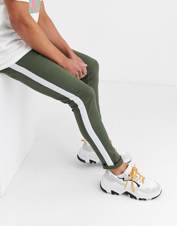 エイソス メンズ デニムパンツ ボトムス ASOS DESIGN super skinny jeans with side stripe in khaki Green