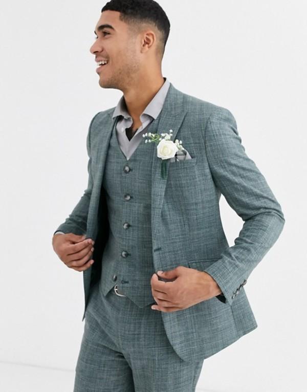 エイソス メンズ ジャケット・ブルゾン アウター ASOS DESIGN wedding skinny suit jacket in pine green crosshatch Green