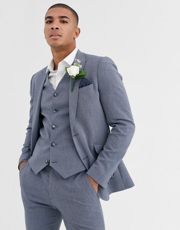 エイソス メンズ ジャケット・ブルゾン アウター ASOS DESIGN wedding super skinny suit jacket in blue marl micro texture Blue