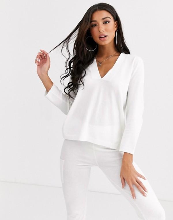 エイソス レディース パーカー・スウェット アウター ASOS DESIGN lounge premium knitted lash plunge sweater White