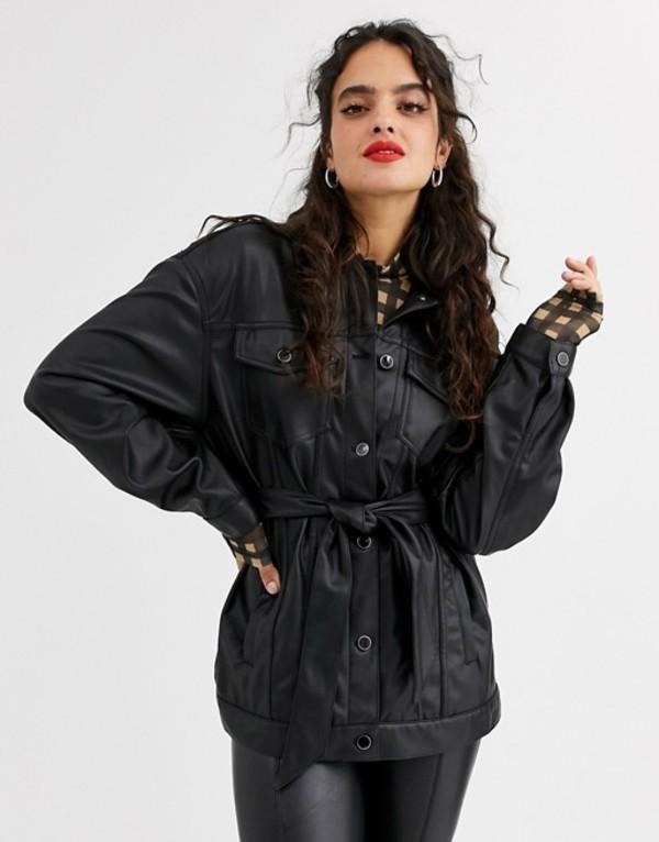 ストラディバリウス レディース ジャケット・ブルゾン アウター Stradivarius faux leather Marlboro jacket with belt in black Black