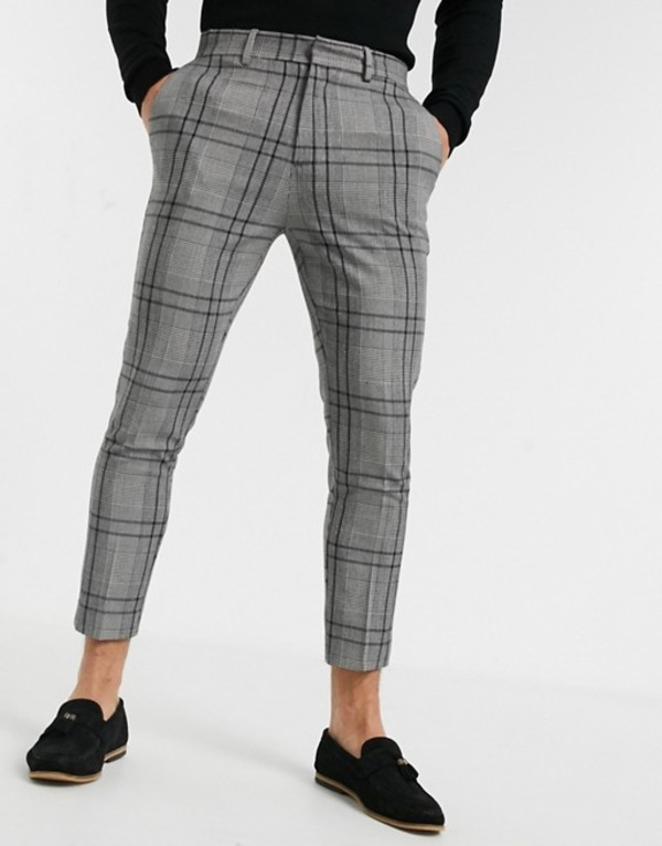 ニュールック メンズ カジュアルパンツ ボトムス New Look bold skinny crop pants in mid gray Mid grey