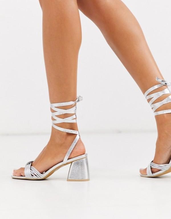 グラマラス レディース サンダル シューズ Glamorous block heeled sandals with ankle tie in silver Silver