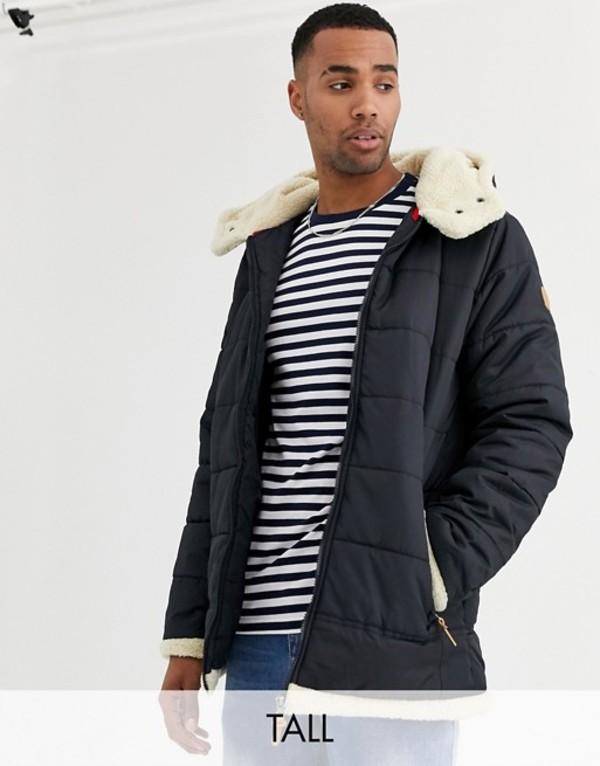デューク メンズ ジャケット・ブルゾン アウター Duke tall puffer jacket with fleece lined hood in navy Navy