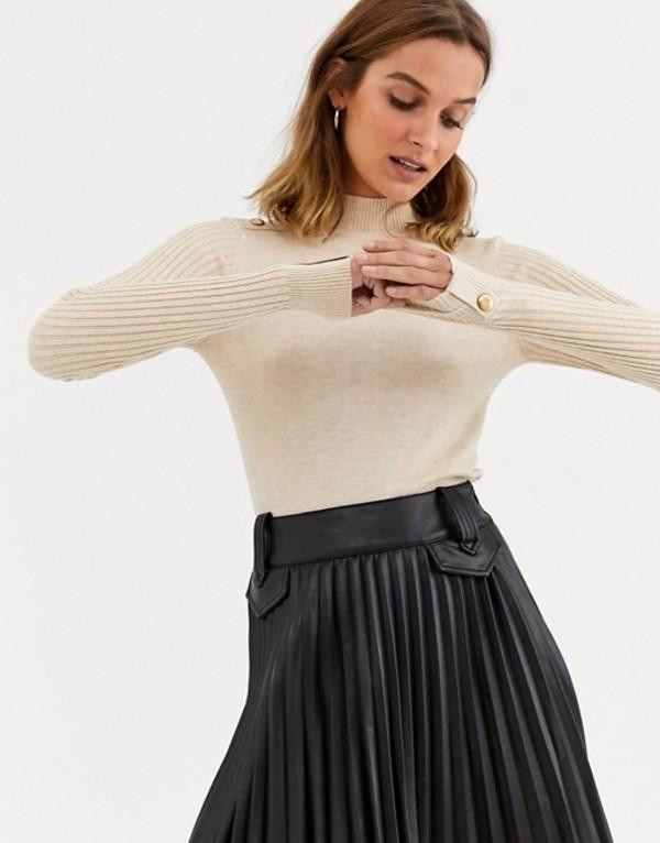 リバーアイランド レディース ニット・セーター アウター River Island turtleneck sweater with shoulder button detail in oatmeal Oatmeal
