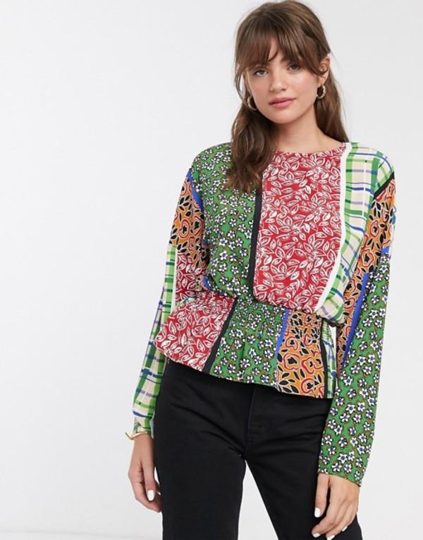 グラマラス レディース シャツ トップス Glamorous blouse with shirred waist in retro patchwork Retro patchwork