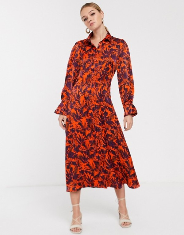 グラマラス レディース ワンピース トップス Glamorous midi shirt dress with contrast floral Orange floral