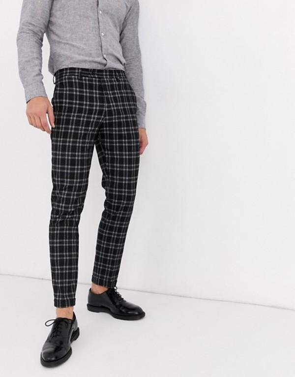 ジャック アンド ジョーンズ メンズ カジュアルパンツ ボトムス Jack & Jones Premium smart check pants in dark gray White check
