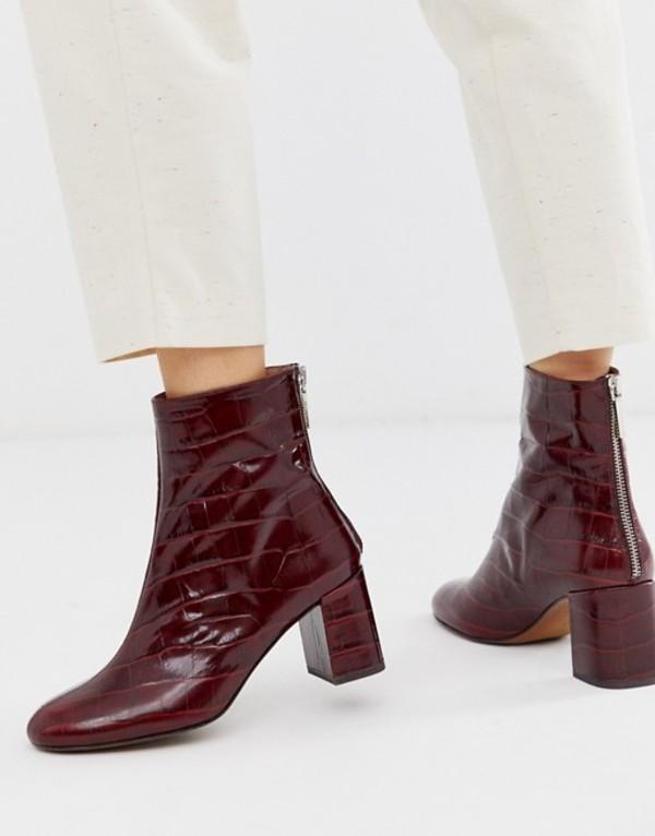 ホイッスルズ レディース ブーツ・レインブーツ シューズ Whistles bartley croc back zip leather ankle boot Wine