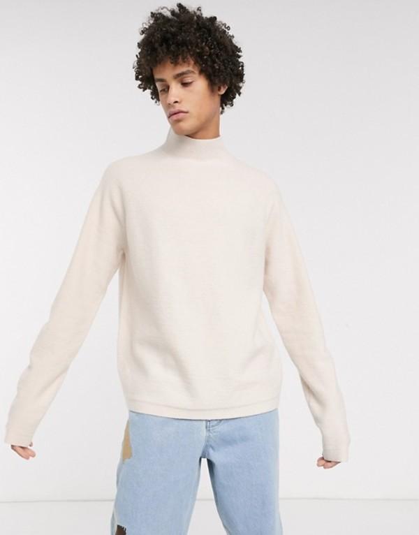 エイソス メンズ ニット・セーター アウター ASOS WHITE boxy sweater in beige boiled wool Oatmeal