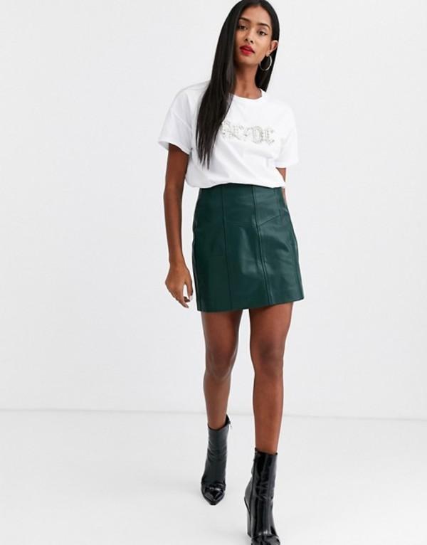 ストラディバリウス レディース スカート ボトムス Stradivarius faux leather skirt in green Green